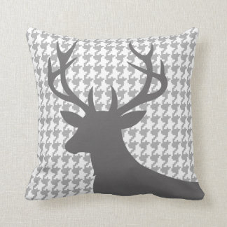 Deer Head Houndstooth   grey white Throw Pillow