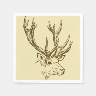 Deer Head Illustration Graphic Disposable Serviettes