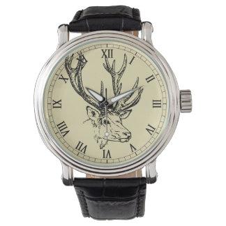 Deer Head Illustration Graphic Wrist Watches