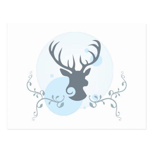 Deer head illustration post cards
