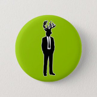 Deer Head Man in a Suit and Tie 6 Cm Round Badge