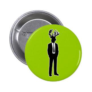 Deer Head Man in a Suit and Tie 6 Cm Round Badge