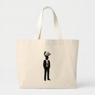 Deer Head Man in a Suit and Tie Large Tote Bag