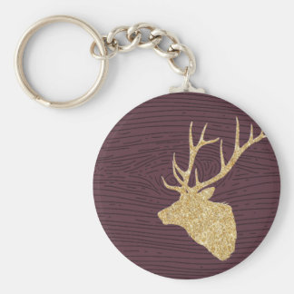 DEER HEAD MAROON BASIC ROUND BUTTON KEY RING
