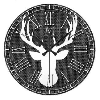 Deer Head Monogram Charcoal Burlap Large Clock