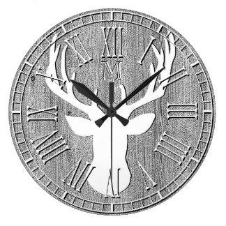 Deer Head Monogram Weathered Wood Large Clock