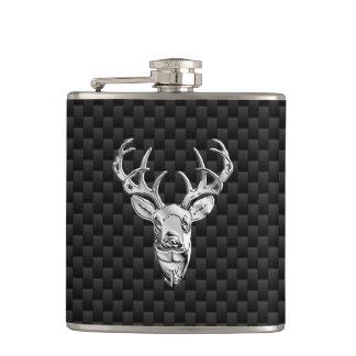 Deer Head on Carbon Fiber Style Print Hip Flask