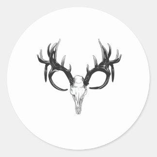Deer head round sticker