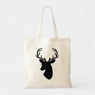 Deer Head Silhouette In Black Budget Tote Bag