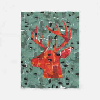 Deer head silhouette mosaic fleece blanket