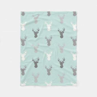 Deer Heads in Mint and Grey Fleece Blanket