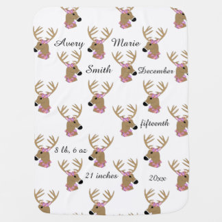 Deer Heads with Name Baby Blanket