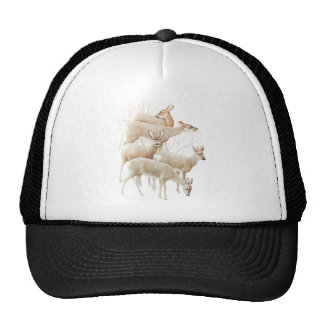Deer Herd In Snow, Vintage Illustration Trucker Hats