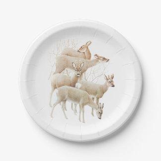 Deer Herd In Snow, Vintage Illustration 7 Inch Paper Plate