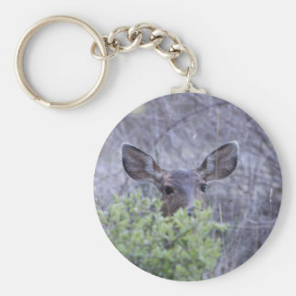 Deer hiding in bushes basic round button key ring