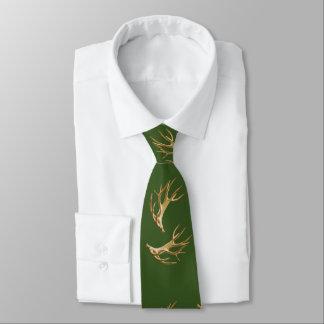 Deer Hunter Antlers Forest Green Tie