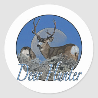 Deer Hunter Round Sticker