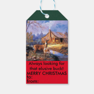 Deer hunters elusive buck christmas gift tag