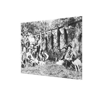 Deer Hunters with their dogs at Hood Canal Stretched Canvas Print