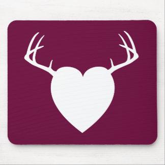 Deer Hunting Antlers heart Mouse Pad