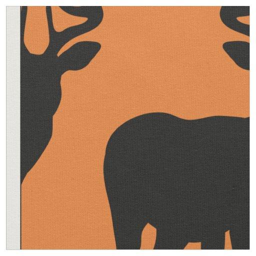 Deer Hunting Silhouette Pattern Orange Background Fabric