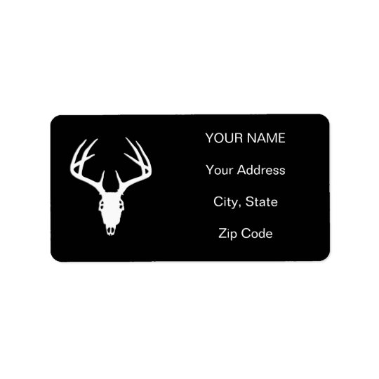 Deer Hunting Skull w/ Antlers Label