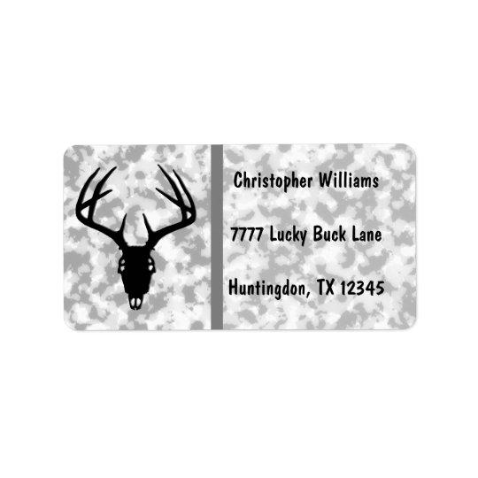 Deer Hunting Skull w/ Antlers Label