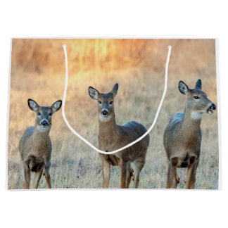 Deer in a field large gift bag