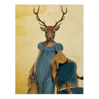 Deer In Blue Dress 2 Postcard