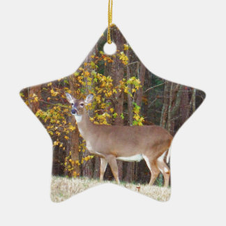 Deer in Front of Yellow Autumn Tree Christmas Ornament