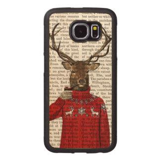 Deer in Ski Sweater 2 Wood Phone Case