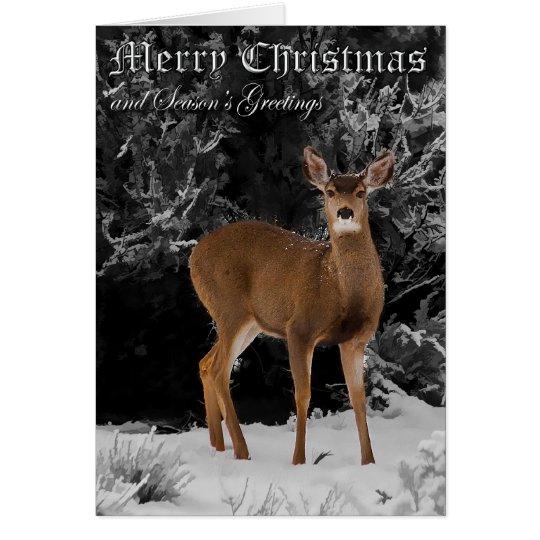 DEER IN SNOW - CHRISTMAS CARD