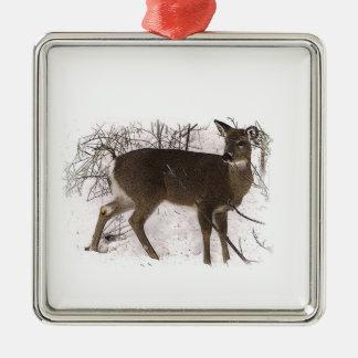 Deer in Snow Christmas Ornament
