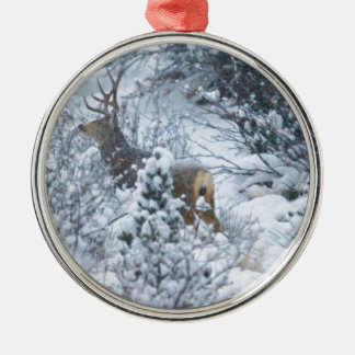 Deer in Snow Christmas Ornament