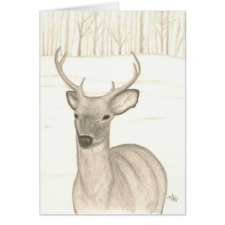 Deer in snow, thinking of you card