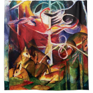 Deer in the Forest by Franz Marc Shower Curtain