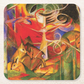 Deer in the Forest by Franz Marc Square Paper Coaster