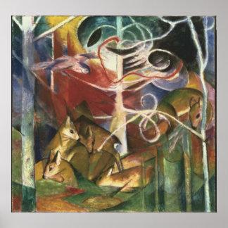 Deer in the Forest by Franz Marc, Vintage Fine Art Poster