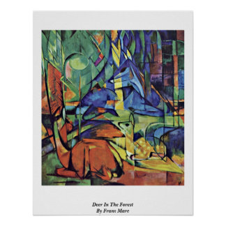Deer In The Forest Ii By Franz Marc Print