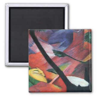 Deer in the Forest II by Franz Marc; Reh im Walde Square Magnet