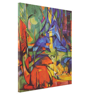 Deer in the Forest II by Franz Marc, Vintage Art Gallery Wrapped Canvas