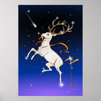 Deer in the sky poster
