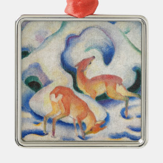 Deer in the Snow by Franz Marc Christmas Ornament