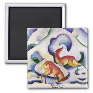 Deer In The Snow By Marc Franz Square Magnet