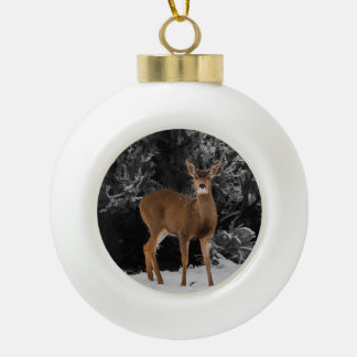DEER IN THE SNOW CERAMIC BALL CHRISTMAS ORNAMENT