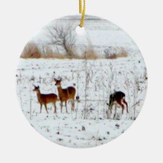 Deer In the snow Round Ceramic Decoration