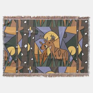 Deer in the Woods Art Abstract Throw Blanket