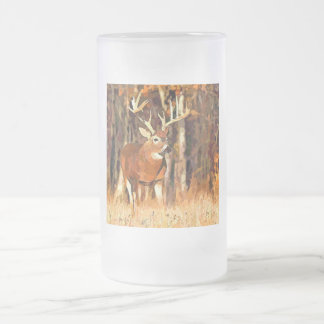 Deer In The Woods Frosted Glass Mug