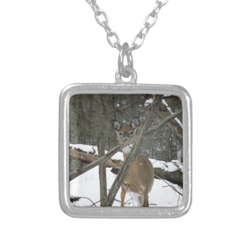 Deer In The Woods Square Necklace