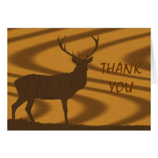 Deer In Walnut Wood, THANK YOU Note Card